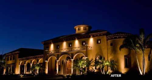 Landscape lighting and design for hospitality and hotel properties